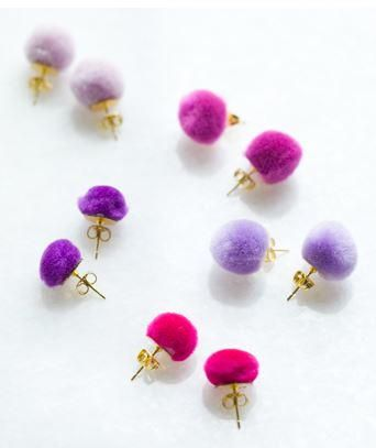Pom Pom DIY Wedding Earrings | Your bridesmaids will love these adorable DIY earrings.