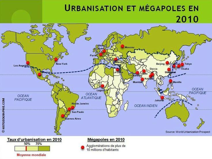 carte de l 39 urbanisation du monde en 2010 source histgeographie com d 39 apr s world