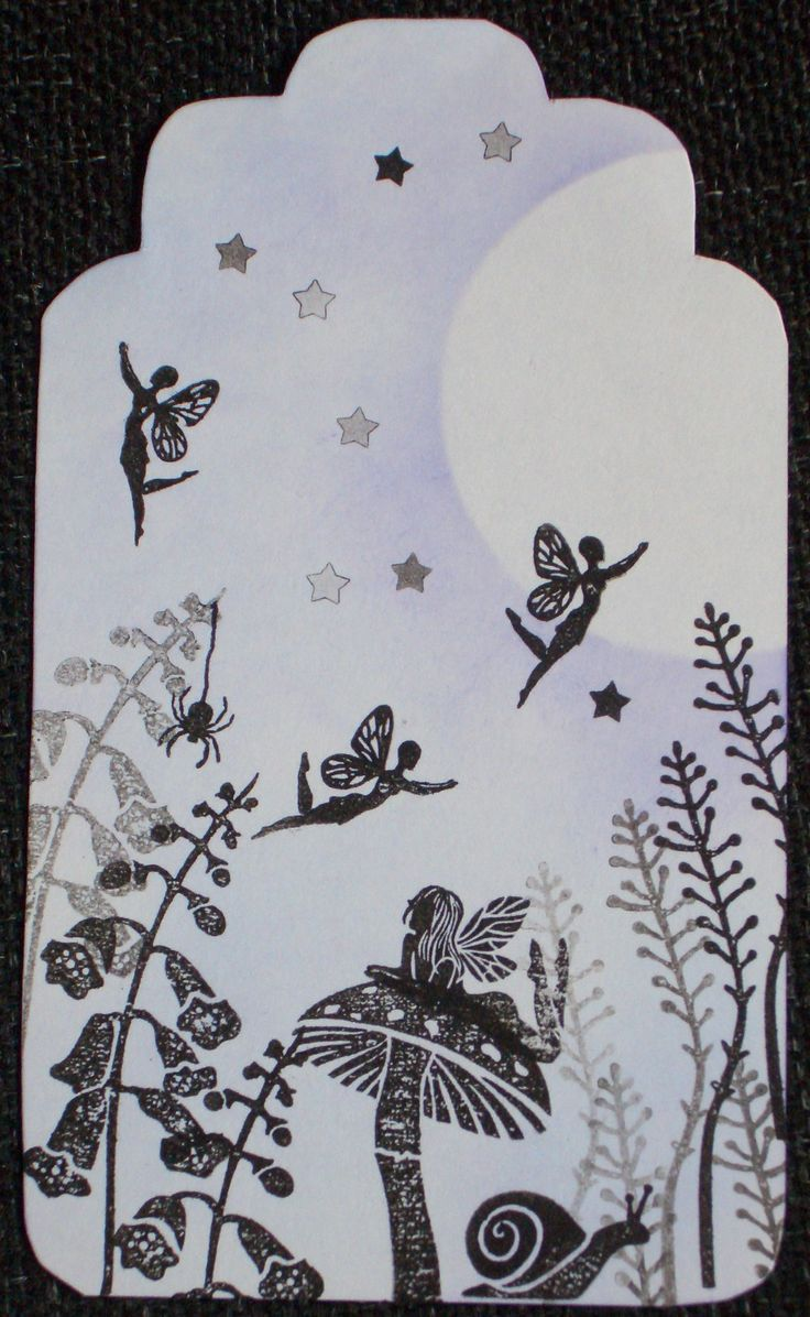Pretty fairies gift tag made using Card-io Majestix Stamps