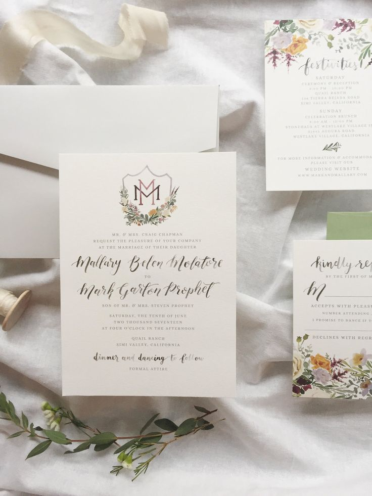 custom wedding invitations nashville%0A Custom wedding invitation suite by Sable and Gray   watercolor wedding  crest  brush calligrapy