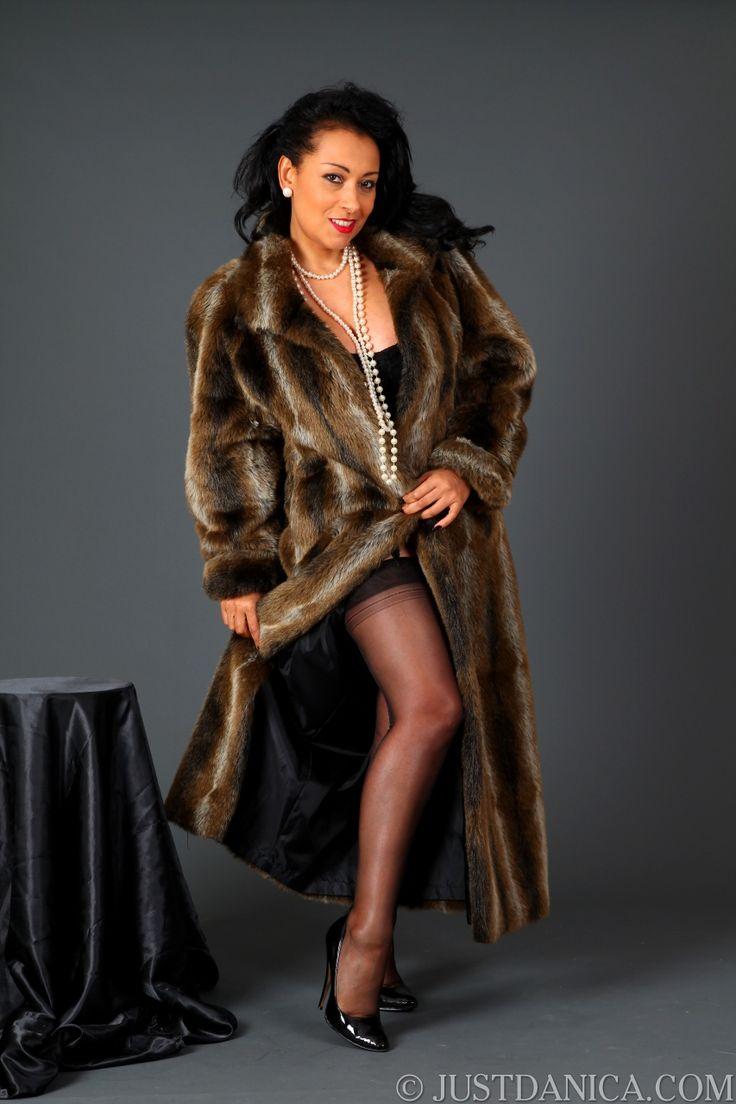 Fur coat pantyhose pron