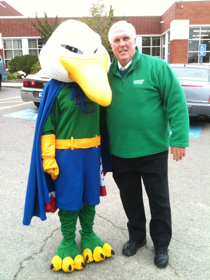 Endicott College's mascot is a seagull. <3 Doc Wylie, the president! Endicott College is an amazing school! I'm an alumni, and my son is presently a student...everyone  is family there...