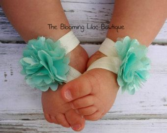 Aqua and Pink Baby Barefoot Sandals  Toddler Sandals  Baby