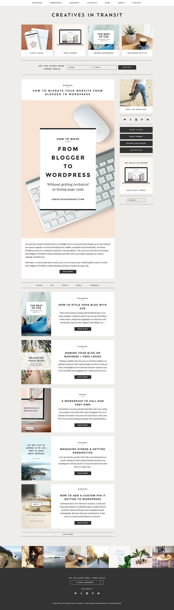 A new blog design for Creatives In Transit crafted by Station Seven - Lots of great resources for bloggers + small biz owners #wordpress #webdesign
