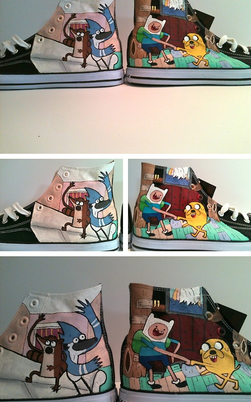 Regular show and Adventure Time High tops  This shit is so awesome!