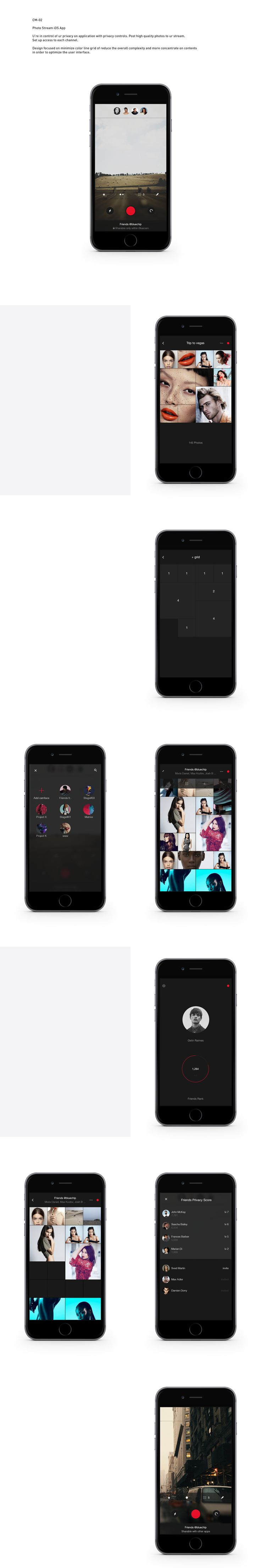 CM-02 Photo Stream iOS AppU're in control of ur privacy on application with privacy controls. Post high quality photos to ur stream. Set up access to each channel. Design focused on minimize color line grid of reduce the overall complexity and mo…