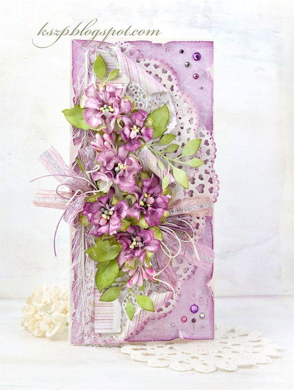Kartka ze stemplowanymi kwiatkami (Klaudia/Kszp)