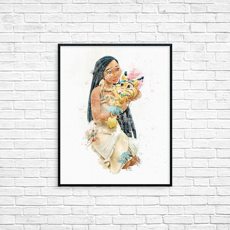 Disney Pocahontas Watercolor Poster Print by DigitalRomashka