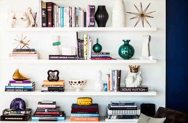 Shelf styling | Corri McFadden | theglitterguide.com:  Medicine Cabinets, Medicine Chest, Bookcases Style, Bookshelf Design, White Bookshelves, Bookshelf Inspiration, Books Stacking, Bookca Style, Bookshelf Style