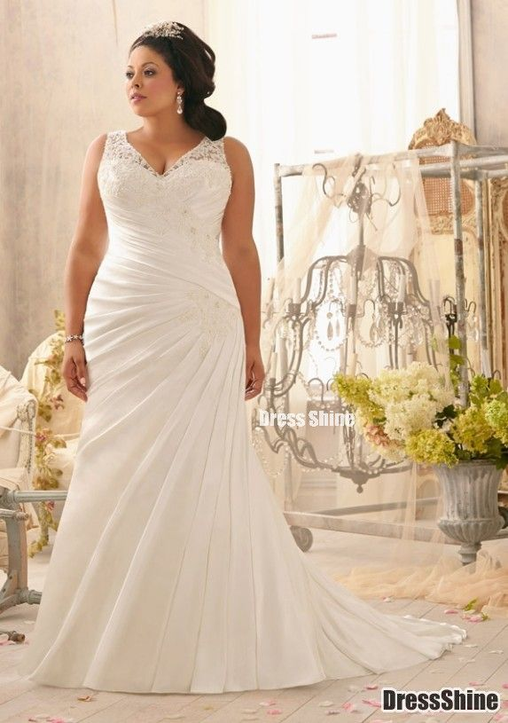 Elegant Mermaid V Neck Satin and Lace Plus Size Wedding Dress - Plus Size Dresses - Wedding Dresses