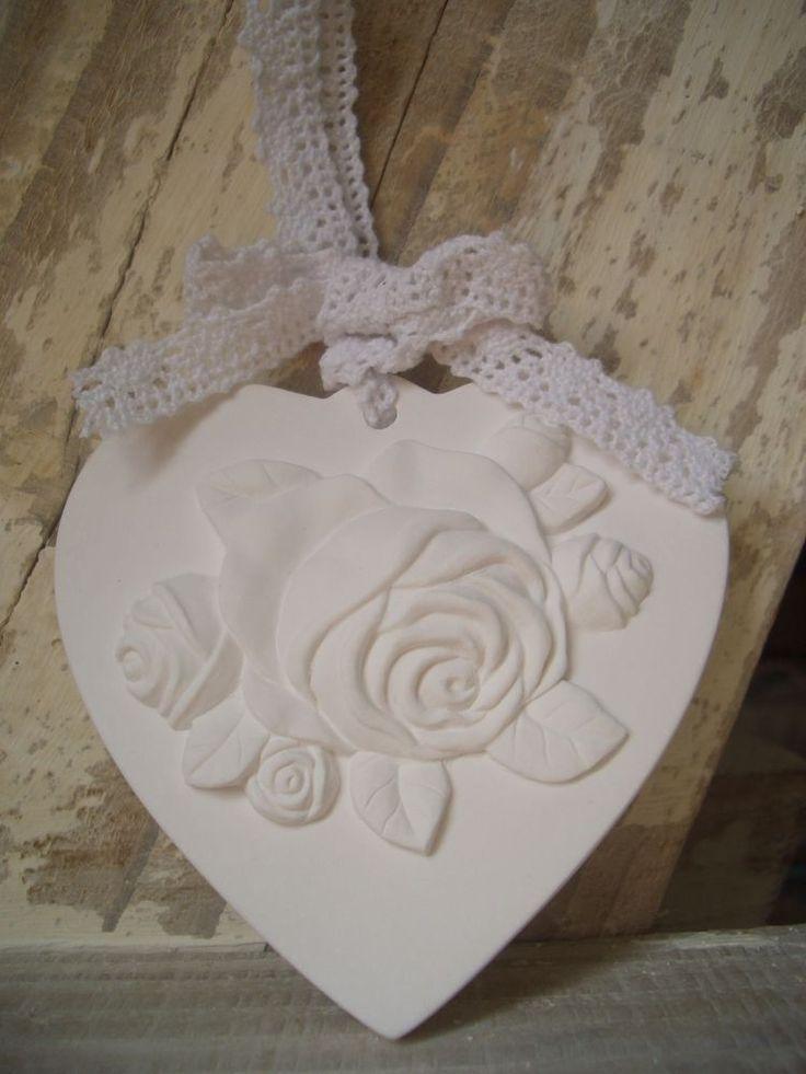 coeur plâtre parfumé déco fleurs roses & dentelle coffret + fiole parfum NEUF