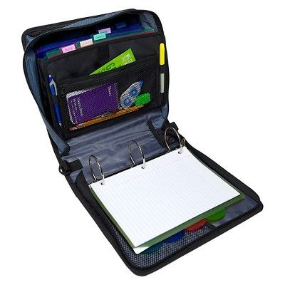 Case•it 3 Zipper 3 Ring Binder with Internal Pockets Black