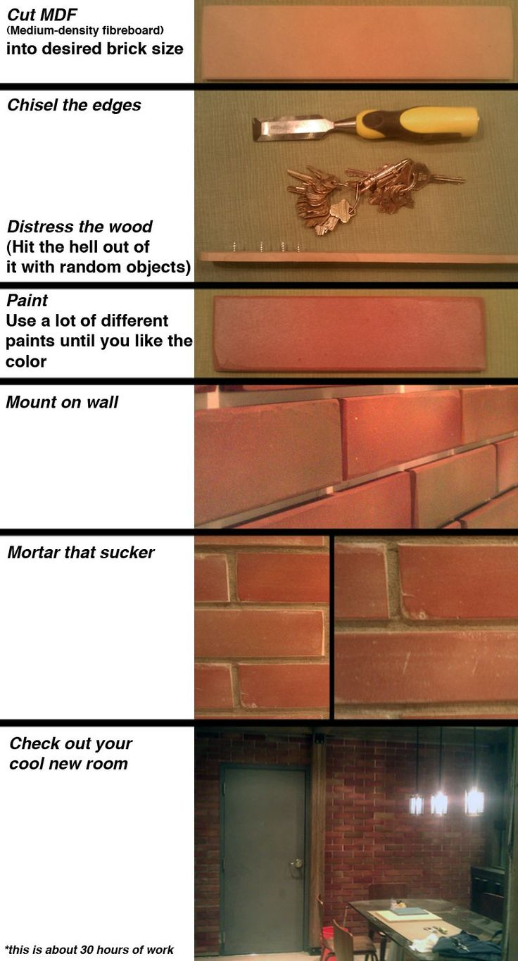 DIY indoor brick wall actually made out of wood
