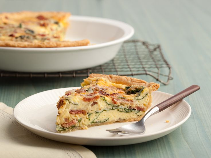 Spinach and Bacon Quiche from Paula Deen.  I use 1 cup milk and 1/2 cup cream to lighten it up.  Also, I add a little chopped onion,1/4 cup cheddar cheese, and a pinch of cayenne pepper.  I also use frozen spinach vs. fresh, and you can sub ham if you don't have bacon.  Delicious!