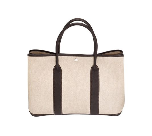 Garden Party Hermes bag in 100% cotton natural linen with brown ...