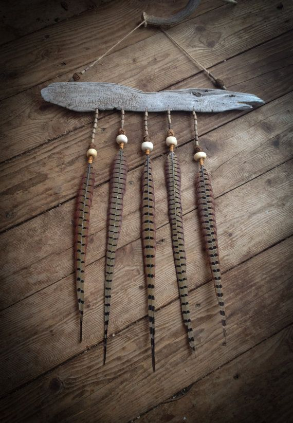 Driftwood and Pheasant Feather Wall Hanging by WILDIVYCREATIONS