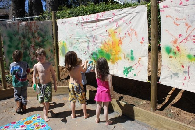 "Spray Painting Canvas Patio ""Walls"" - The Artful Parent"