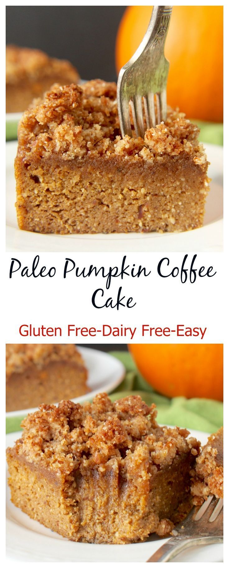 Looking for the perfect fall dessert? Try this Paleo Pumpkin Coffee Cake. It is just like a classic coffee cake with a moist and flavorful cake with a delicious crumb topping only healthier! It's so delicious you would not think it's good for you.