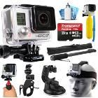 GoPro HERO3+ Hero 3+ Silver Plus Edition Action Camera Camcorder with Accessories includes 32GB MicroSD Card + Selfie Stick + Bike Mount + Car Windshield Suction Cup + Head Helmet Strap (CHDHN-302)