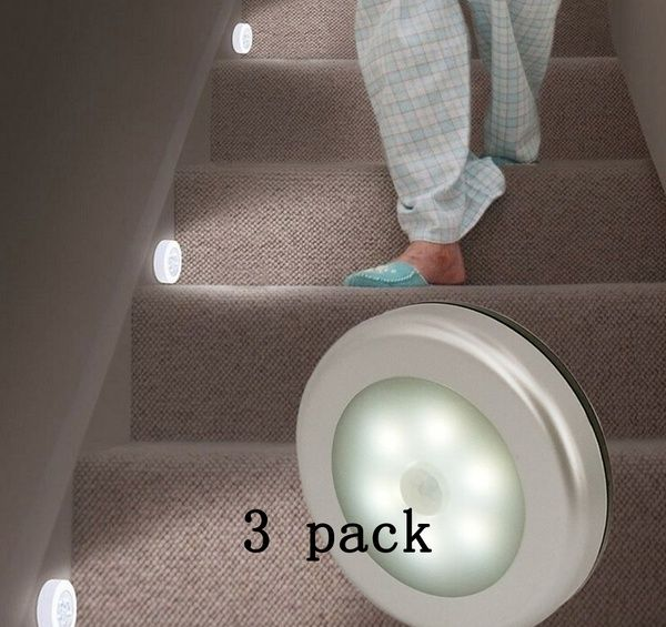 Cool Portable 6 Led Wireless Motion Sensor Night Light Battery Powered With Sticker 3 Pack Motion Sensor Lights Sensor Night Lights Wireless Night Light