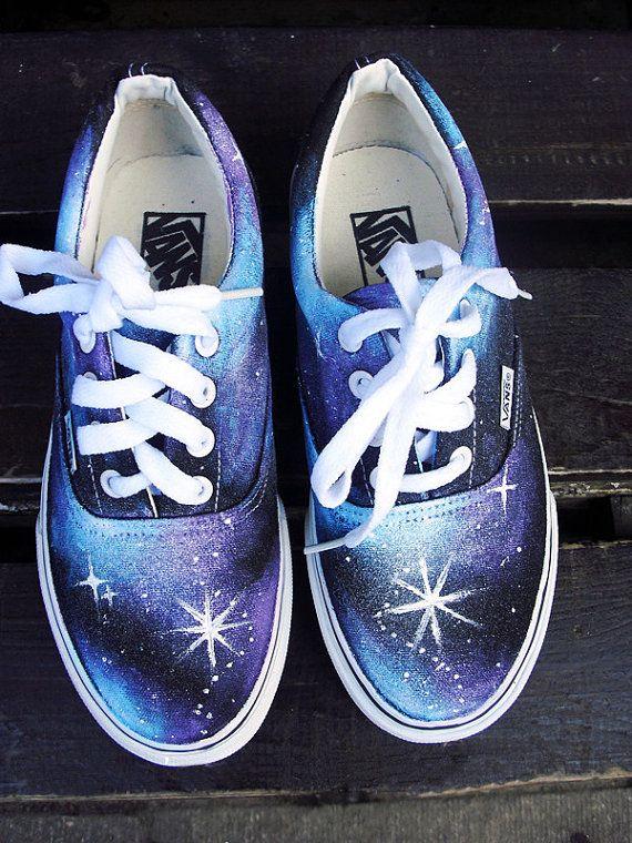 #Galaxy Shoes Galaxy Vans Sneakers Low-top Painted Canvas Shoes,Low-top Painted Canvas Shoes