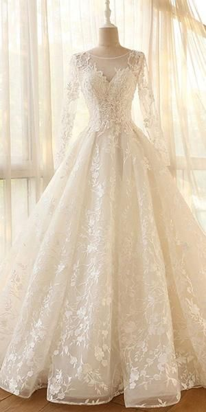 Glamour Modest Jewel Neck Long Sleeves Modest Ball Gown Wedding Dress, – Dolly…