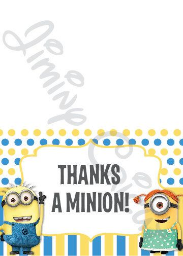 Minion / Despicable Me Thank You Card Digital by JiminyCricut