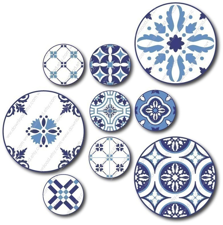 Azulejos 2 and 1 inch Combo Circles Digital Collage by download, $4.00