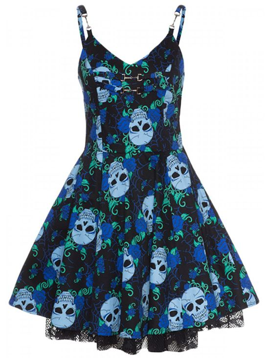 "Women's ""Skull Rose"" Blue Short Dress by Jawbreaker (Black/Blue)"