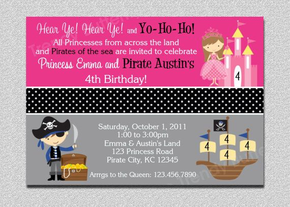 119 best Princess and pirate birthday party images – Princess and Pirate Birthday Invitations
