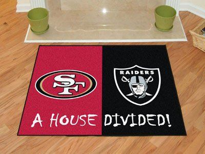 """NFL - San Francisco 49ers - Oakland Raiders House Divided Rugs 33.75""""x42.5"""""""
