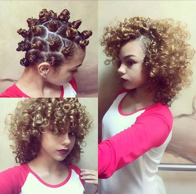 💗Bantu Knots! A Great Way To No-Heat, Natural Looking Curls! So Simple Too! #tipit 💗