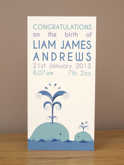Personalised whale new baby card. £3.99 or purchase any of our prints and get it for just £2