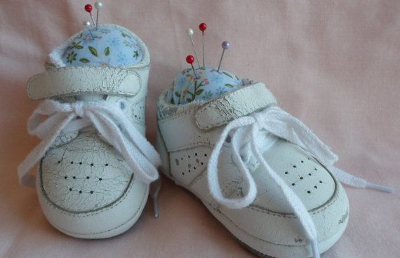 Repurposed baby sneakers pincushion by LoveandReloved on Etsy