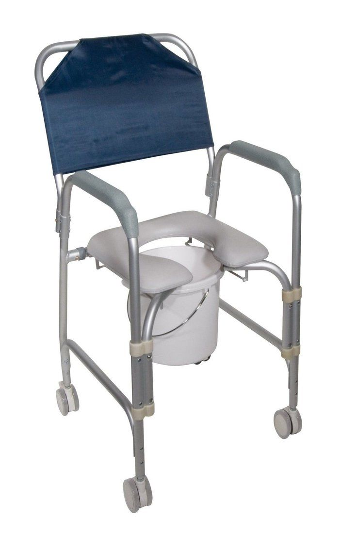 142 30 Medical Aluminum Shower Chair Commode Toilet Seat Swivel