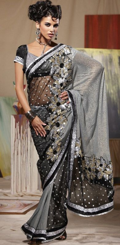 #gray#silver#indian#sari