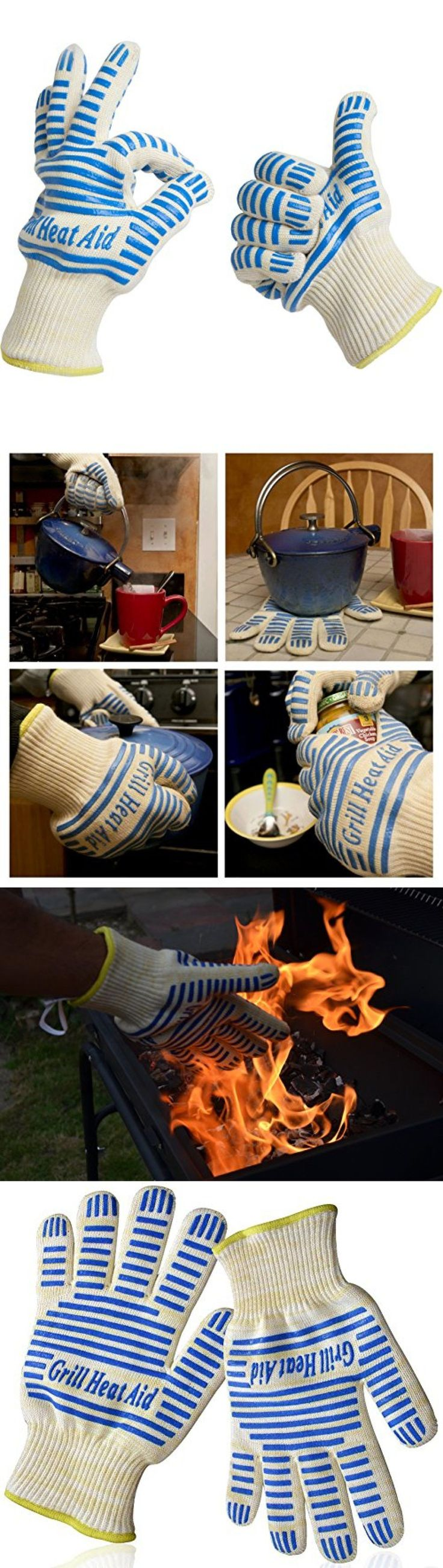 Oven Mitts and Potholders 20661: Grill Heat Aid, Heat Resistant Gloves, 932°F En407 Certified, Thick But Light-W -> BUY IT NOW ONLY: $40.45 on eBay!