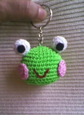 Very simple Keroppi keychain..... Abbreviations: sc: single crochet ch: chain inc: increase dec: decrease F/O: Fasten off r...
