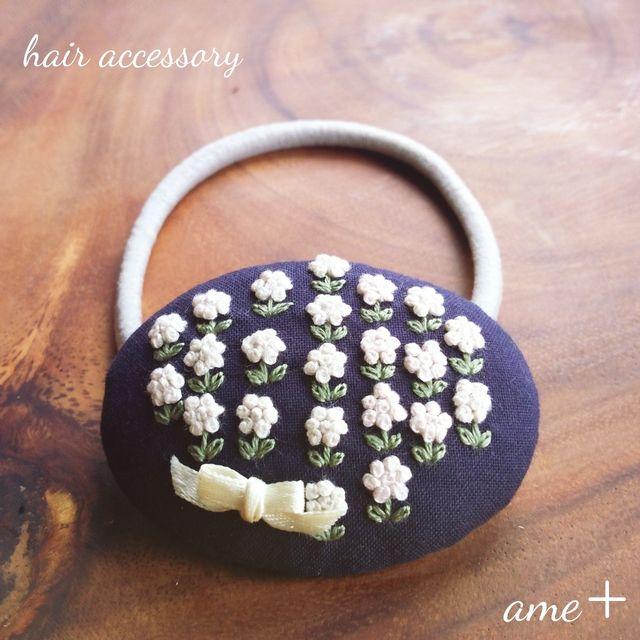 sold【展示品】お花いっぱい咲く 刺繍ヘアゴム
