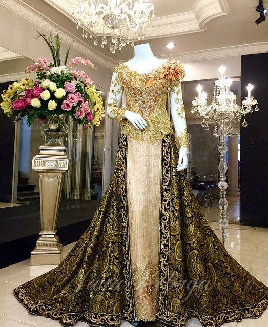 wedding kebaya modern dress in gold color 2016