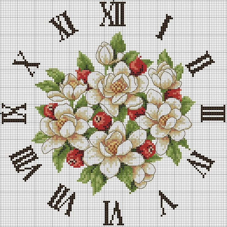 Graficos de bordados relojes en punto de cruz