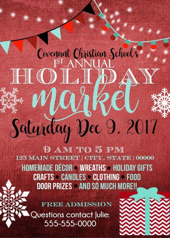 Holiday Event Flyer, Market, Craft Fair, Christmas, Christmas