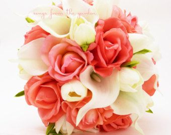 New Silk Guava Bridal Bouquet Guava Wedding by BridalBouquets