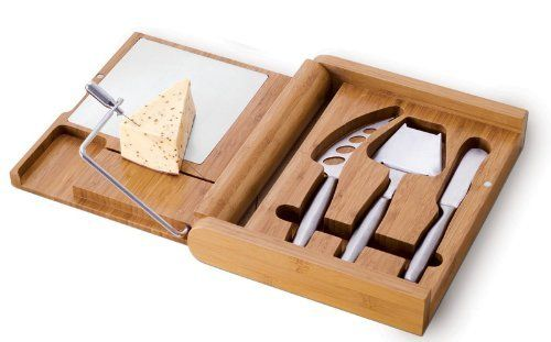 "Soiree Cheese Board Set Personalized Gift - Drink wine, eat cheese, enjoy the life! by Picnic Time. $65.00. Engraved text ""Drink wine, eat cheese, enjoy the life!"". Laser engraved personalized gift. Add your own names for personalization. Perfect for vine and chess lovers. Bamboo cutting board with three stainless steel cheese tools. 4-pc. Soiree Cheese Board and Knife Set is great for entertaining at home or dining outdoors. It features premium bamboo cutting surface as w..."