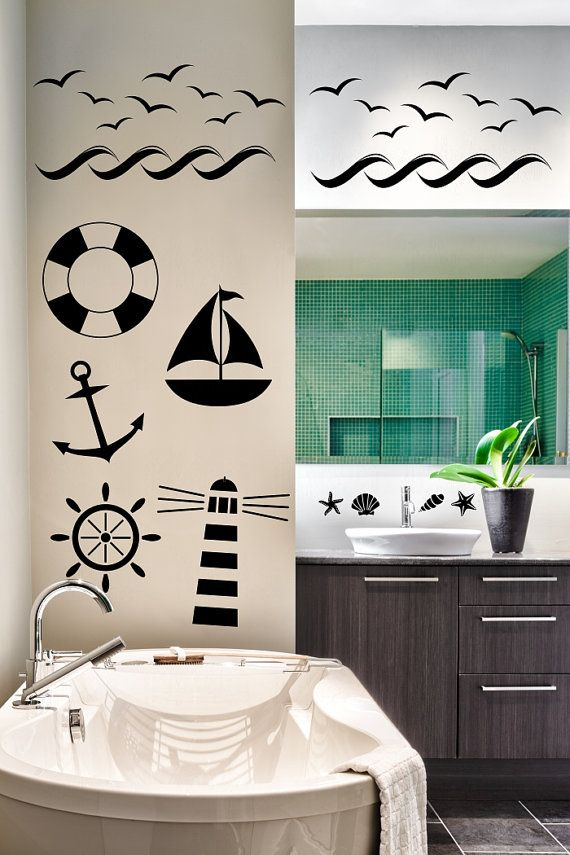 Nautical theme various size vinyl wall decal light by VinylWorks4u