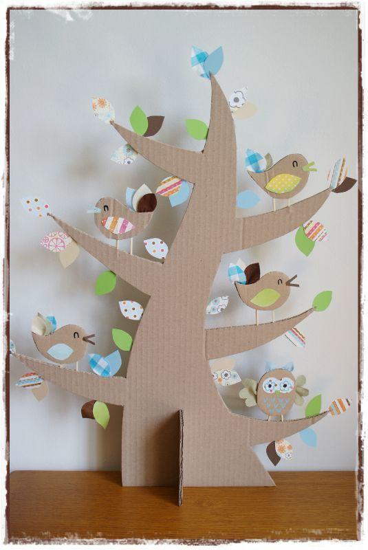 Cute tree! #kids #craft #paper #cardboard #fabric #birds #owl