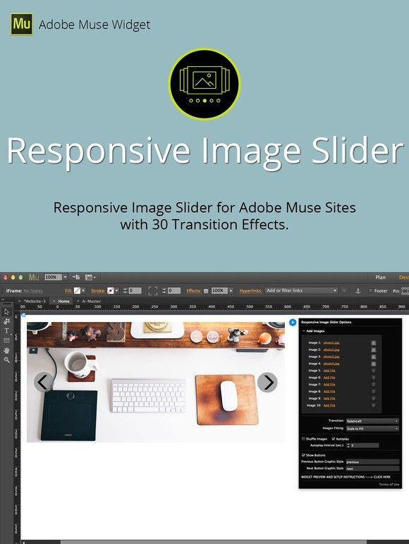 Responsive Image Slider Muse Widget. Plug-ins. $8.00