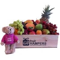 Mothers Day Gift Hamper with Message Bear  http://www.igiftfruithampers.com.au/mothers-day-gift-baskets/  Mothers Day Hampers - full of fruit! Add something sweet, cute or bubbly and then finish it off with some beautiful silk roses. #mothersdayhampers #mothersday #mothers #hampers #gift hampers #fruitbaskets #fruit #baskets #gifts