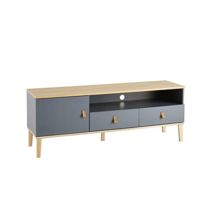 Grey 1-Door 2-Drawer TV Cabinet | Maisons du Monde