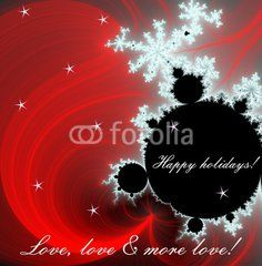 Happy holidays wishes on fractal red background